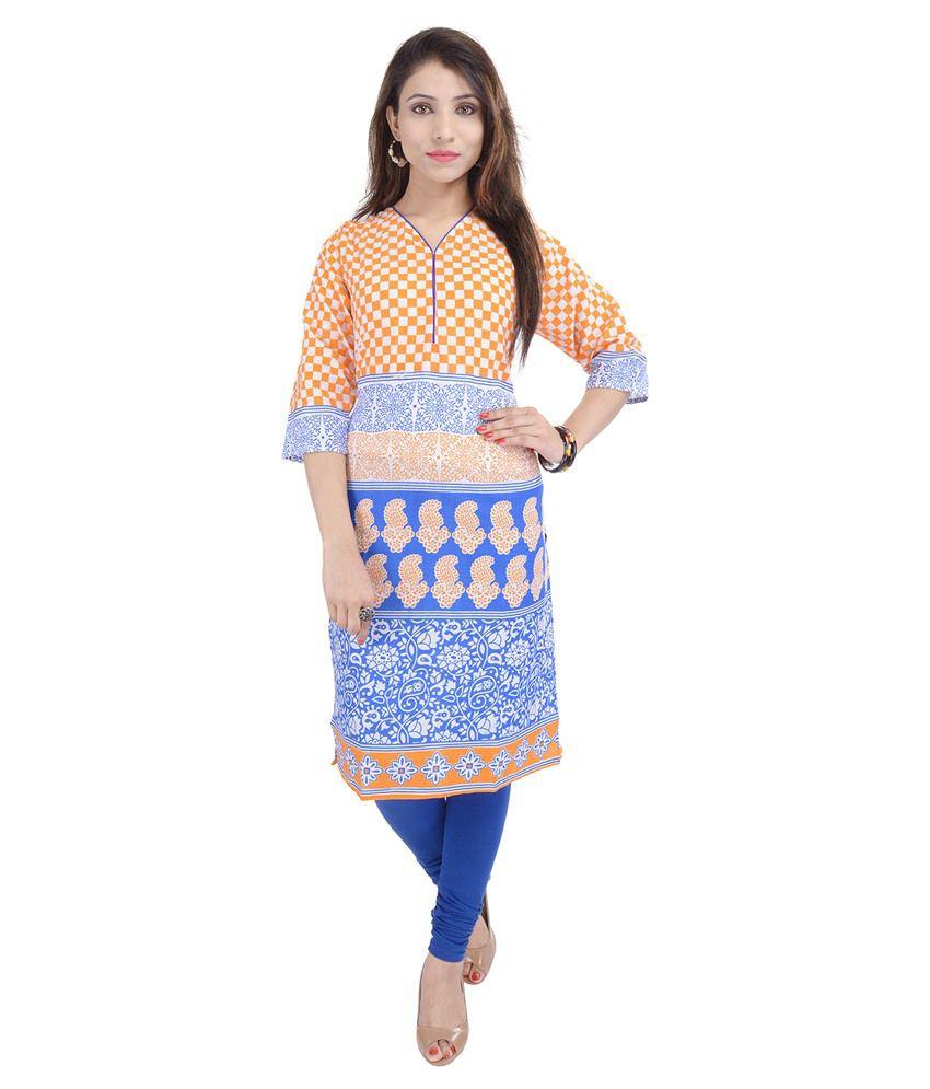 Shopping Karega Orange Cotton Kurti