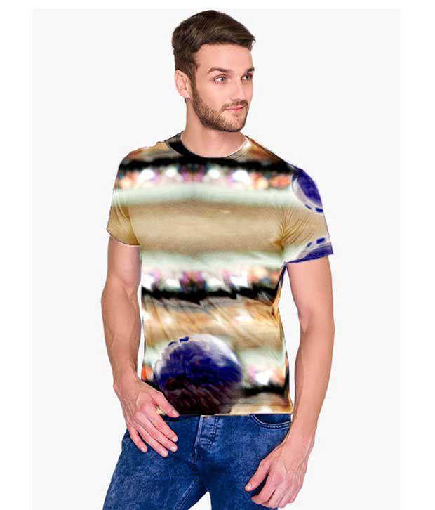 Atheno Multicolor Polyester Half Sleeve T-shirt