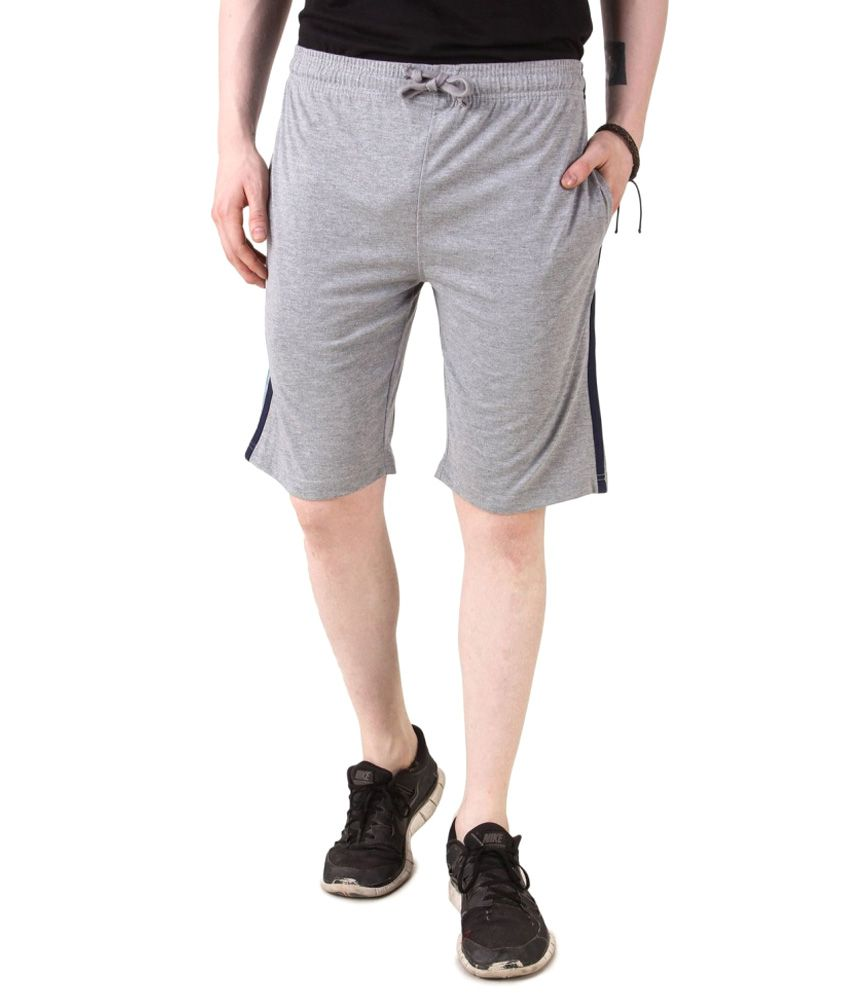 Goodtry Grey Cotton Solid Shorts