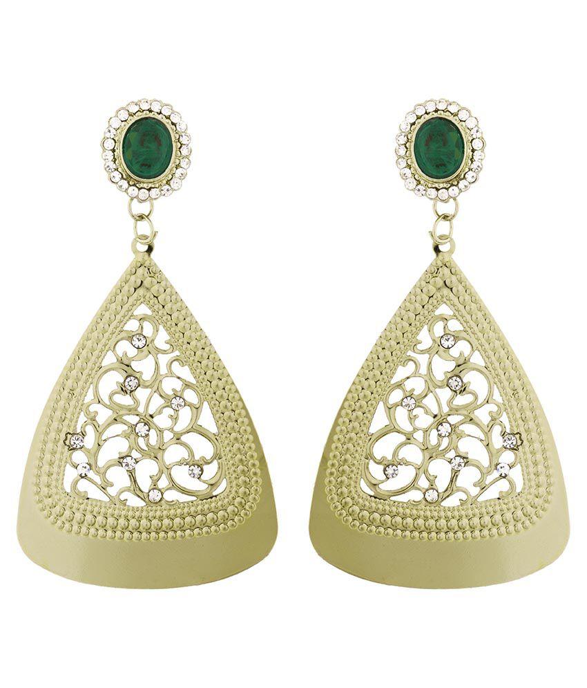 The Jewelbox Green Wedding & Engagement Wear Drop Earrings