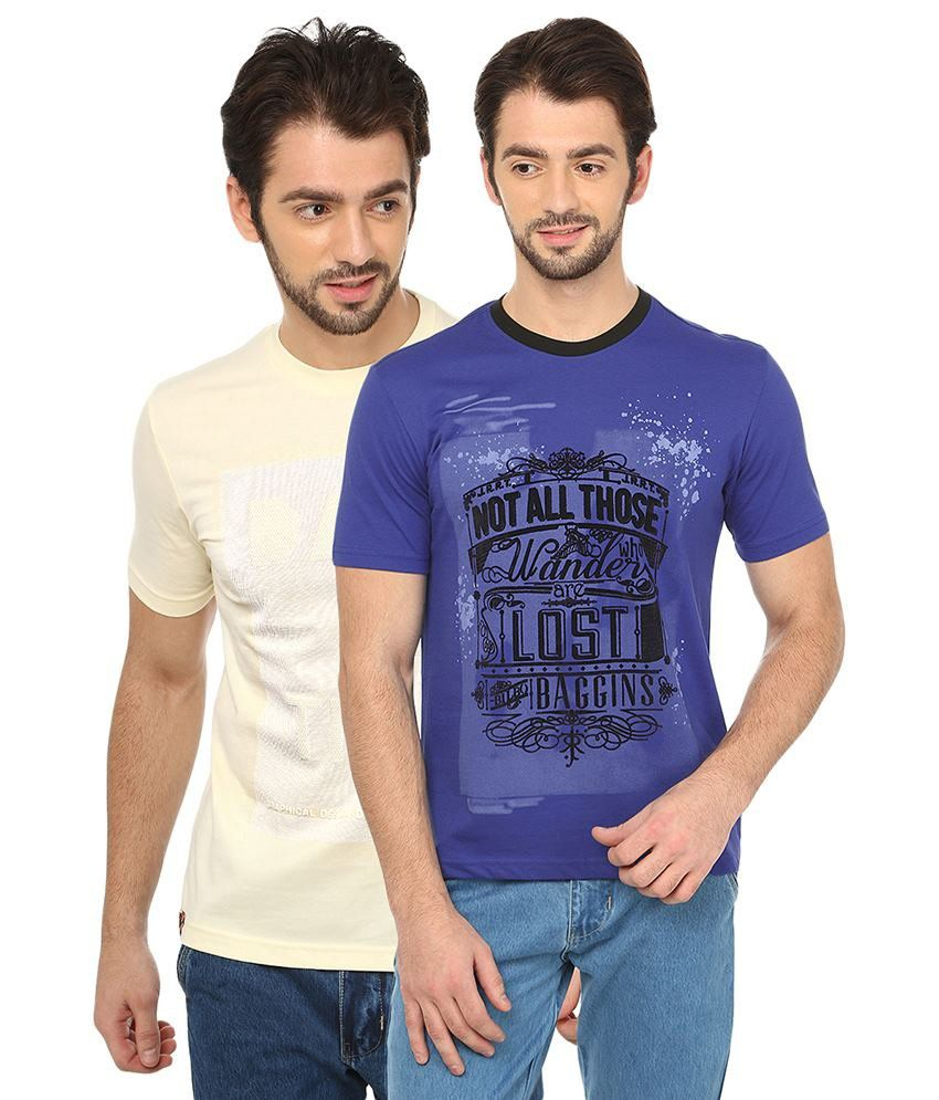 Date And Time Beige And Turquoise Cotton Blend T-Shirt - Pack Of 2