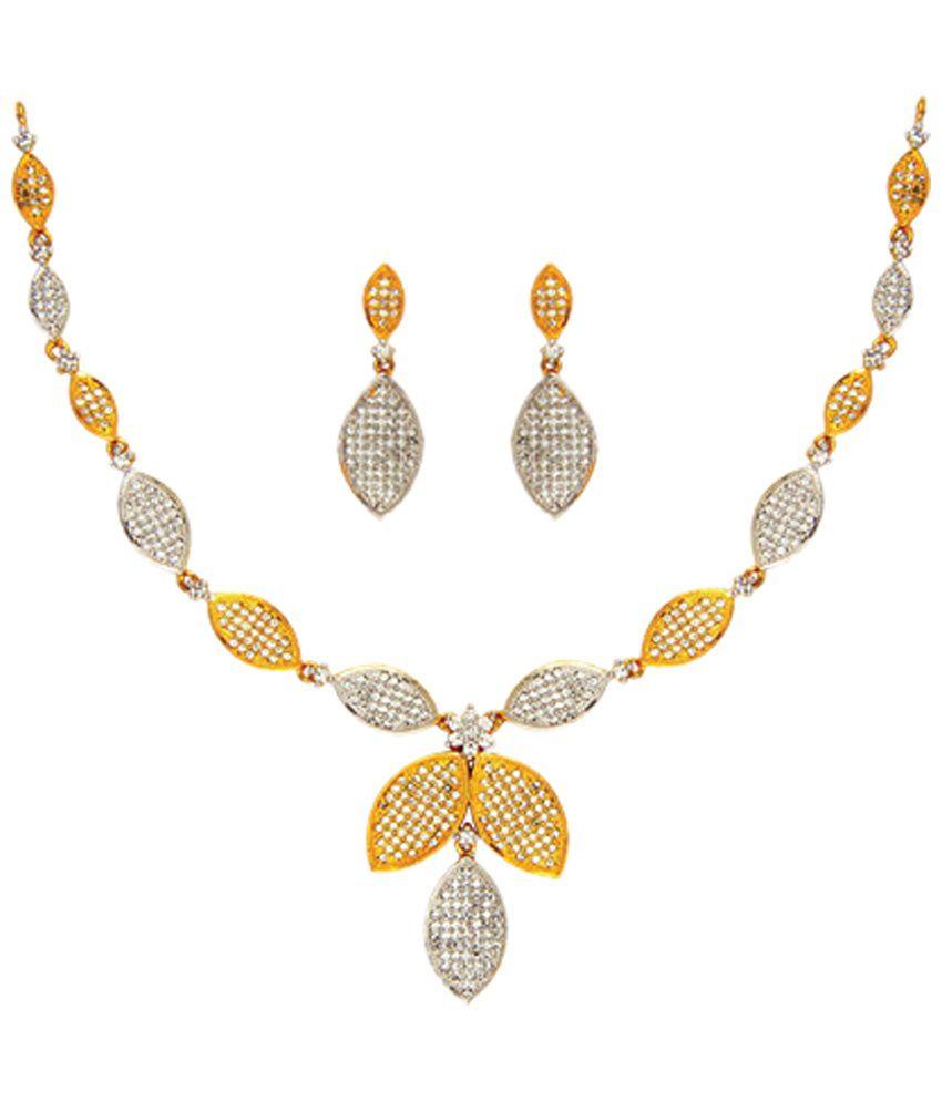 Anjali Jewellers Golden & Silver Colour American Diamond Necklace ...