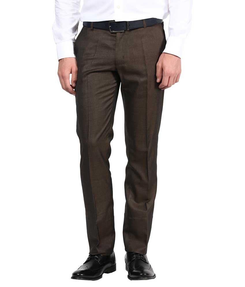 Bukkl Brown Poly Viscose Slim Fit Formal Trouser