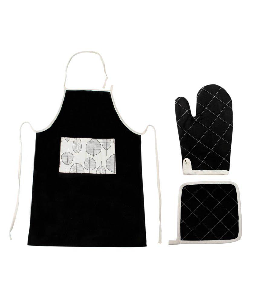 Saral Home Set Of 3 Black Cotton Apron, Glove & Pot Holder