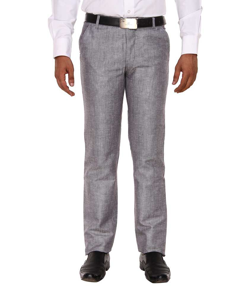 Hideouts Grey Slim Fit Formal Flat Trousers