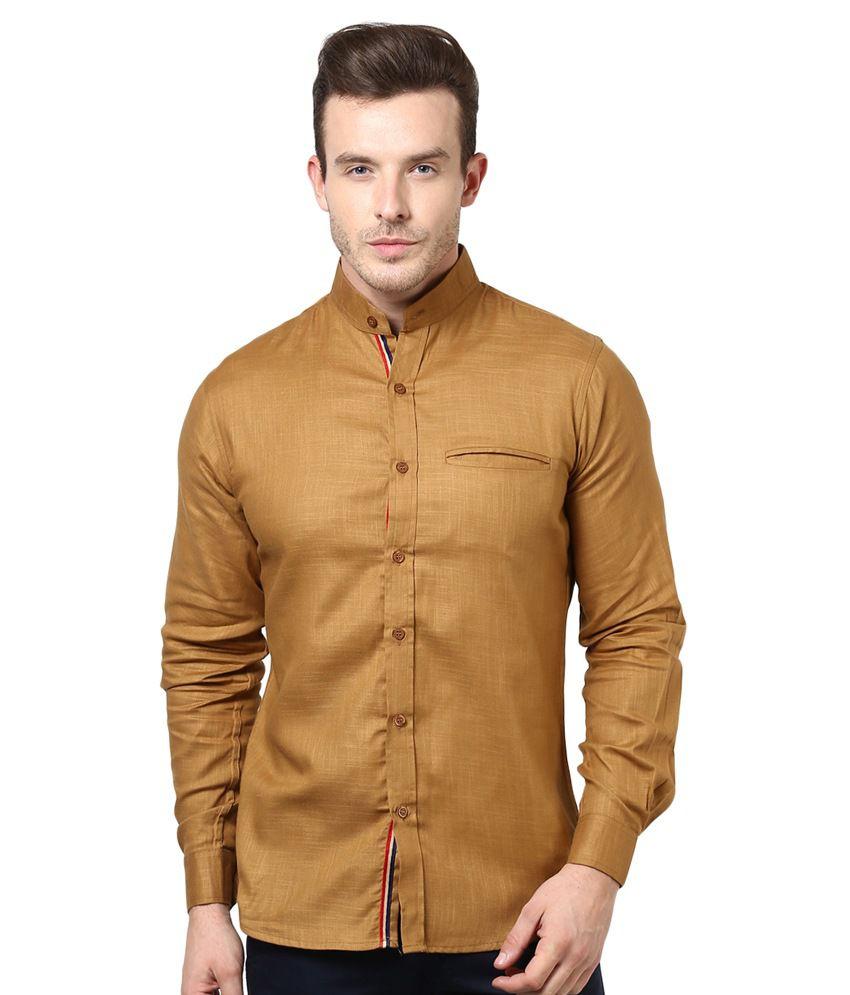 Bukkl Brown Cotton Full Sleeves Casual Shirt