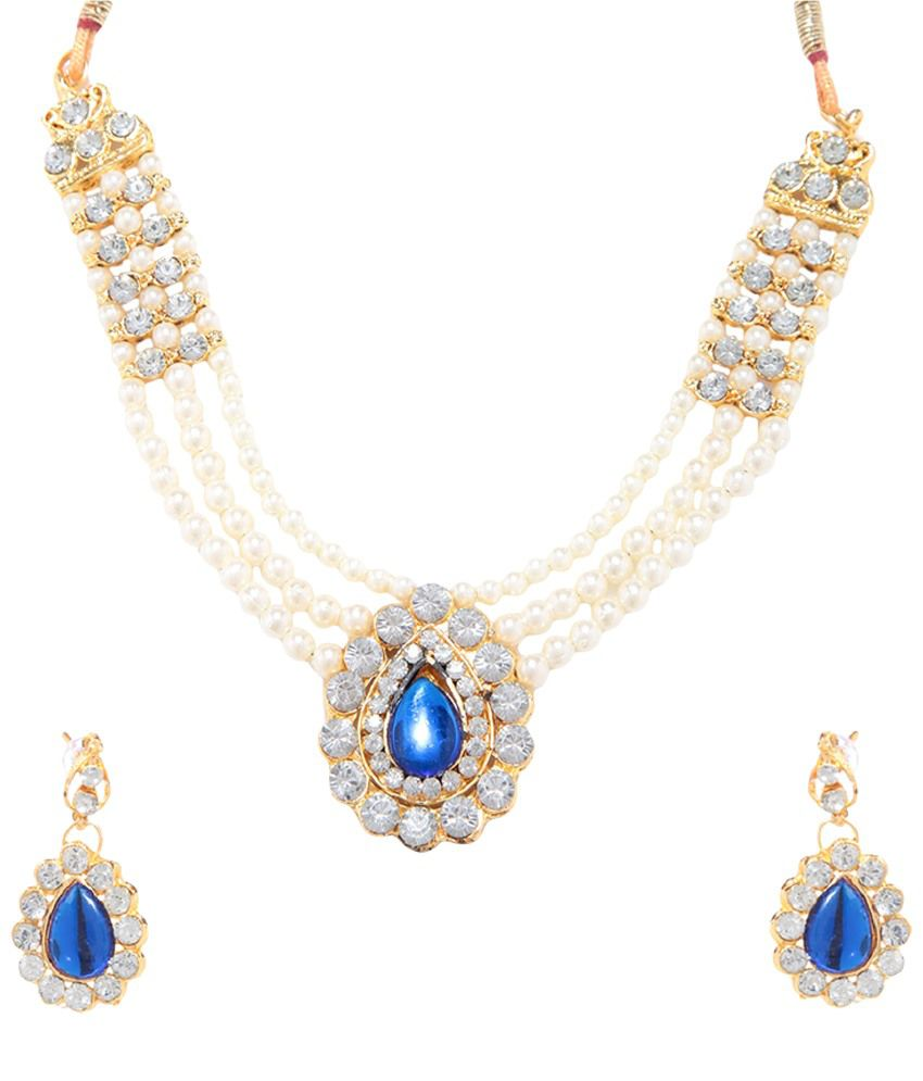 GoldNera Golden & Blue Pearl Necklace Set