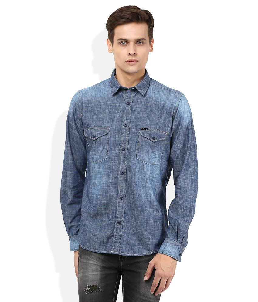 Pepe Jeans Blue Solid Shirt