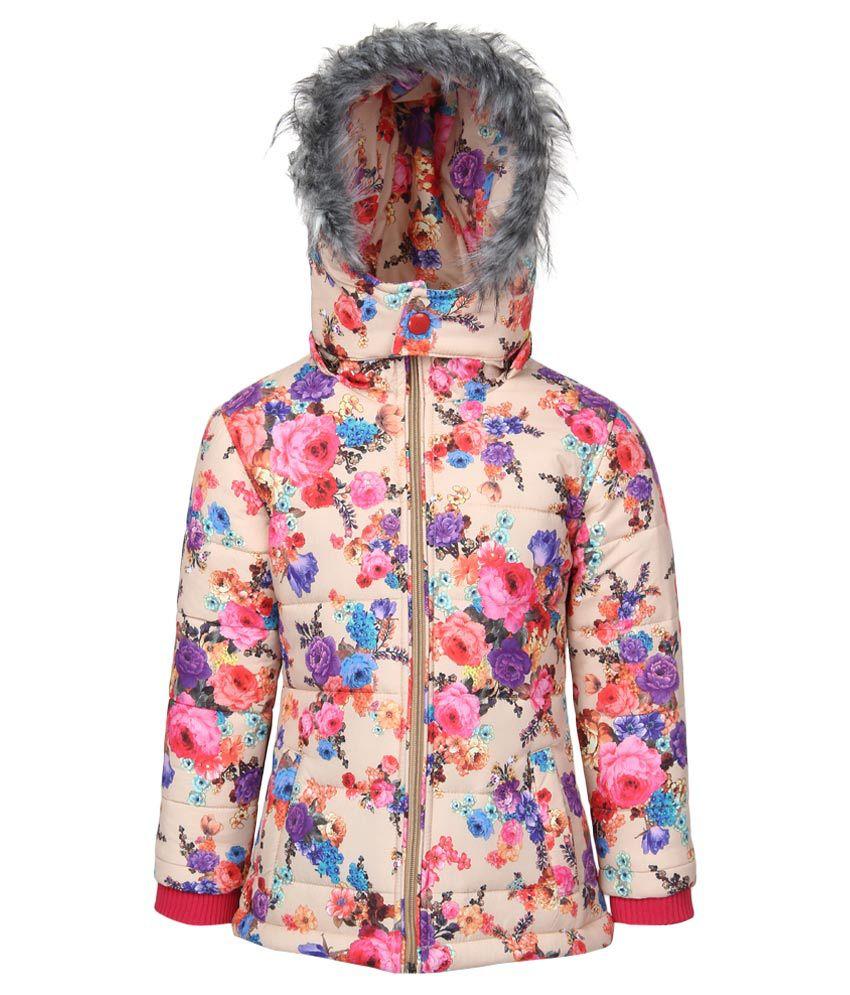 Fort Collins Beige Floral Printed Nylon Hooded Jacket