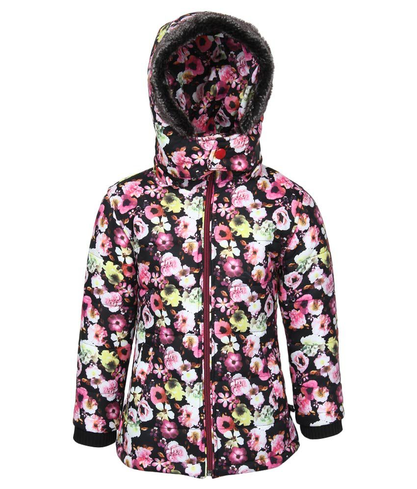 Fort Collins Black Floral Printed Nylon Hooded Jacket