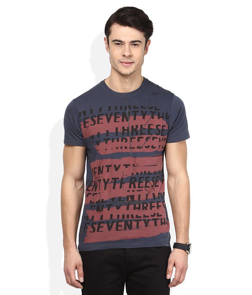 Pepe Jeans Grey Round Half Sleeves Printed T-Shirt