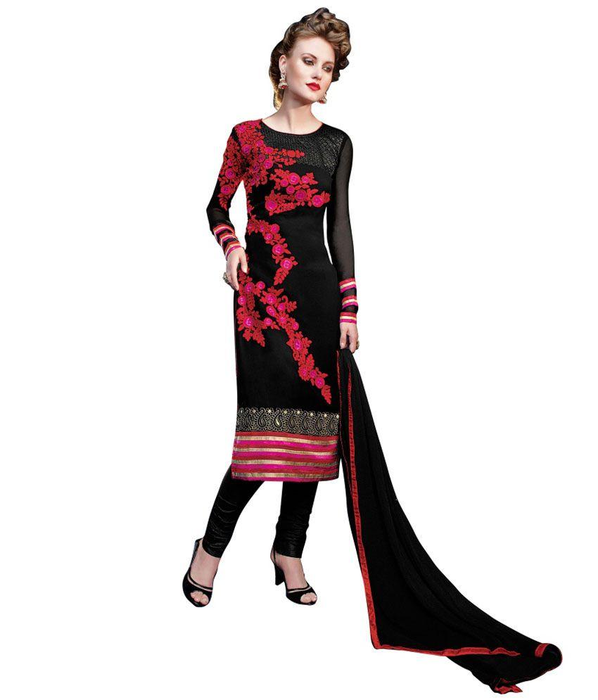 Jiya Black Faux Georgette Unstitched Dress Material