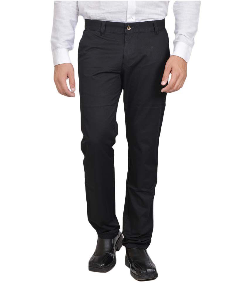 Allen Martin Black Cotton Trouser