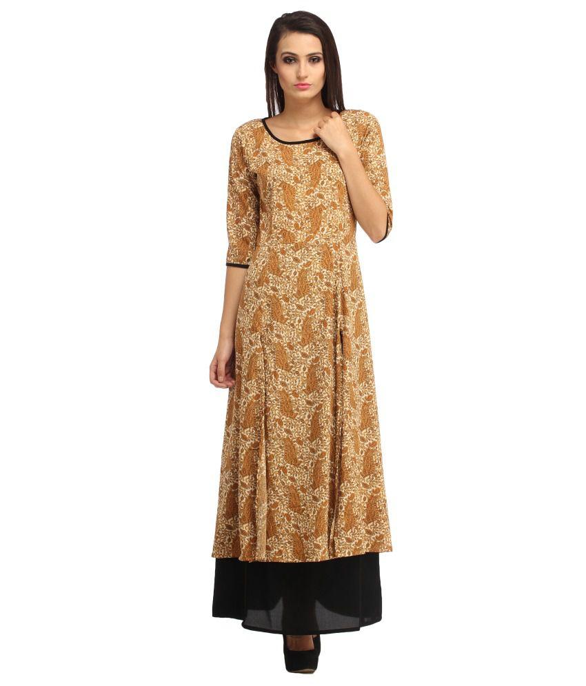 Cottinfab Brown Rayon Maxi Dress