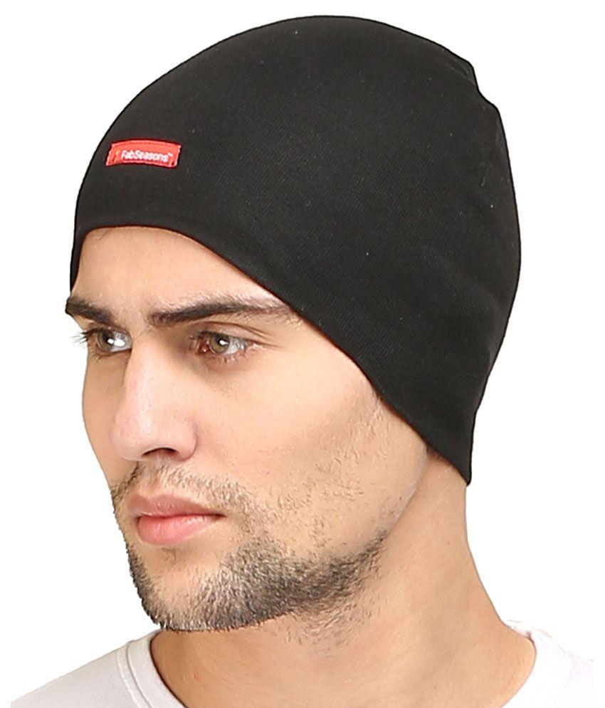 cd281de2d Fabseasons Black Cotton Winter Cap