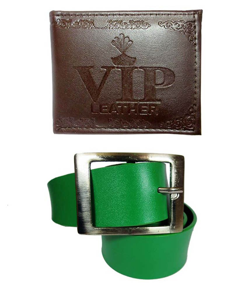 Apki Needs Green Belt With Brown Designer Wallet