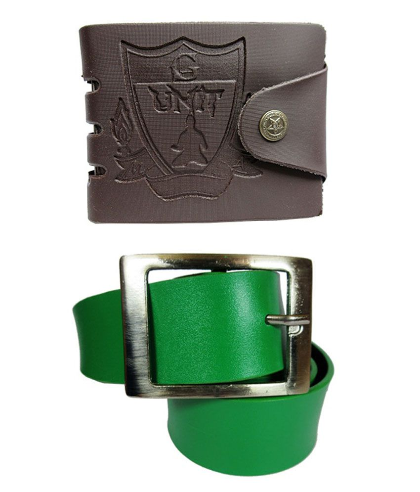 Apki Needs Green Non Leather Casual Belt With Wallet Combo