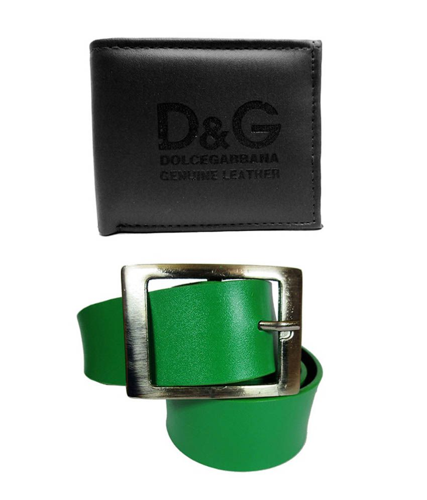 Apki Needs Green Pin Buckle Belt with Black Wallet - Pack of 2