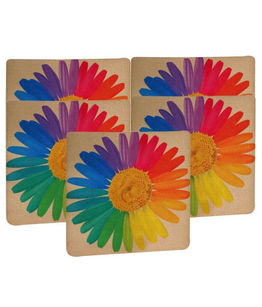Apurv Creations Multicolour Floral Cushion Covers Set Of 5