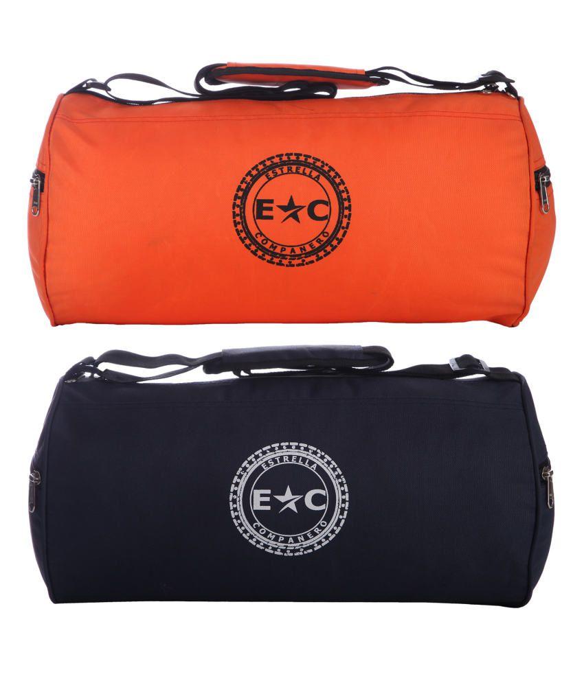 Estrella Companero Orange and Navy Blue Polyester Gym Bag - Set Of 2
