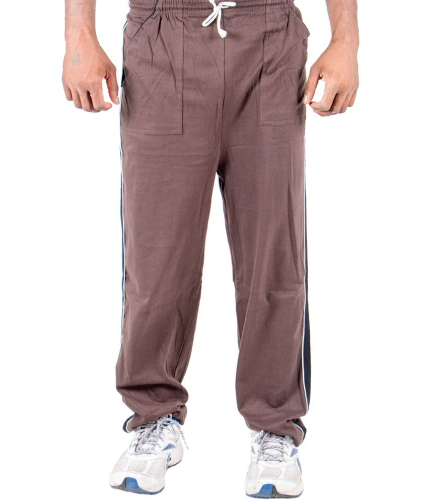 Funky Guys Brown Cotton Trackpant