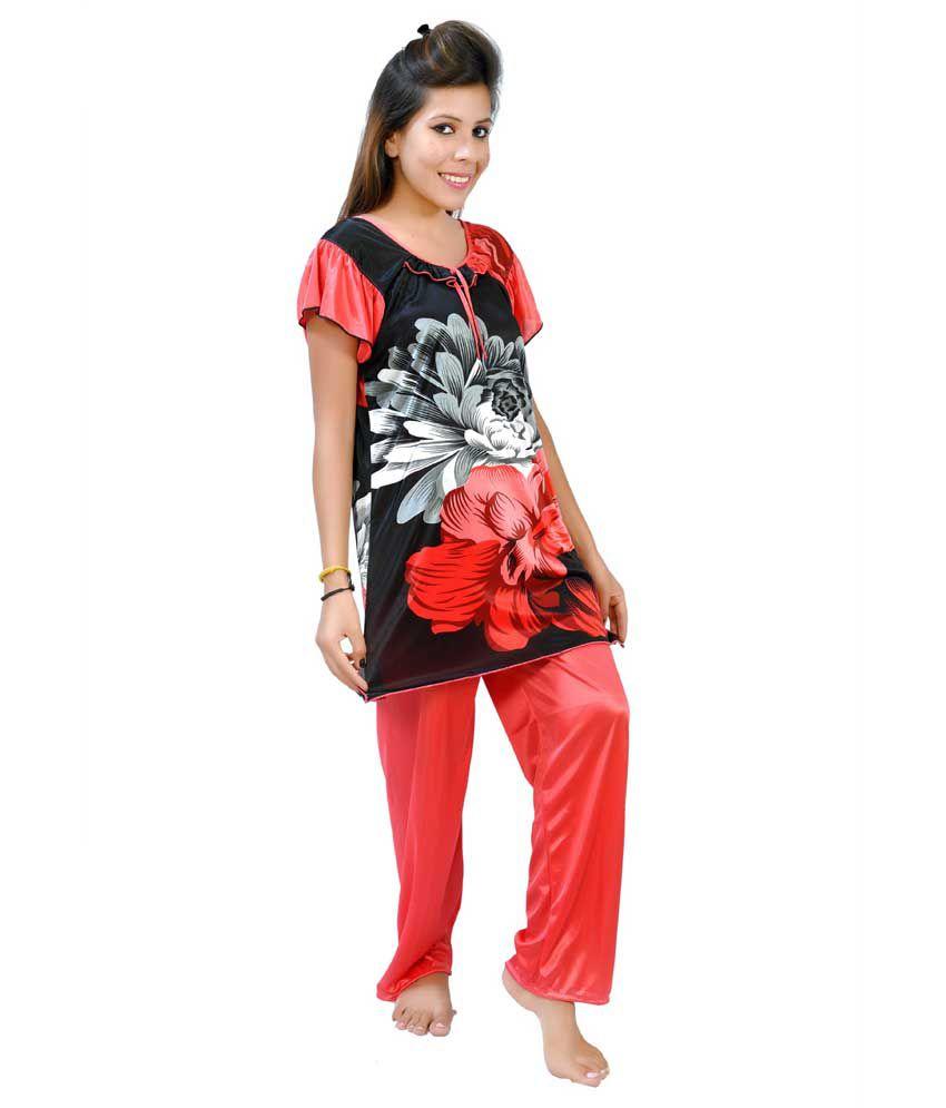 Fashion Zilla Red & Black Satin Printed Top & Payjama Set