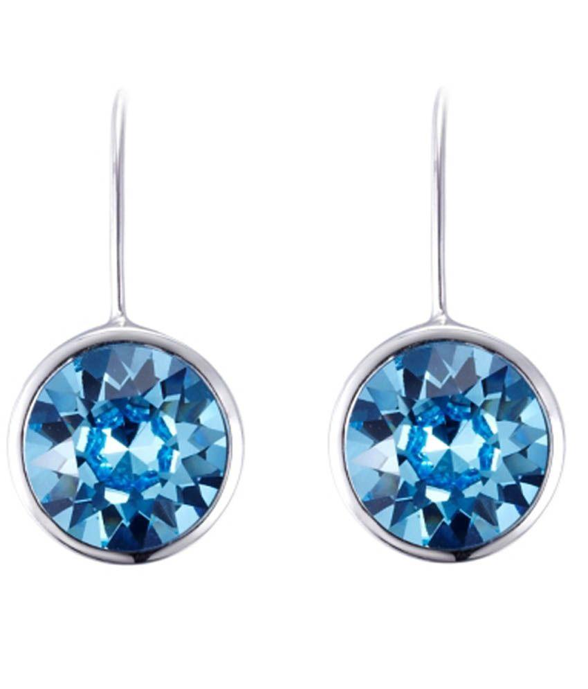 Nevi Blue Alloy Led Free Alloy Crystal Drop Earrings