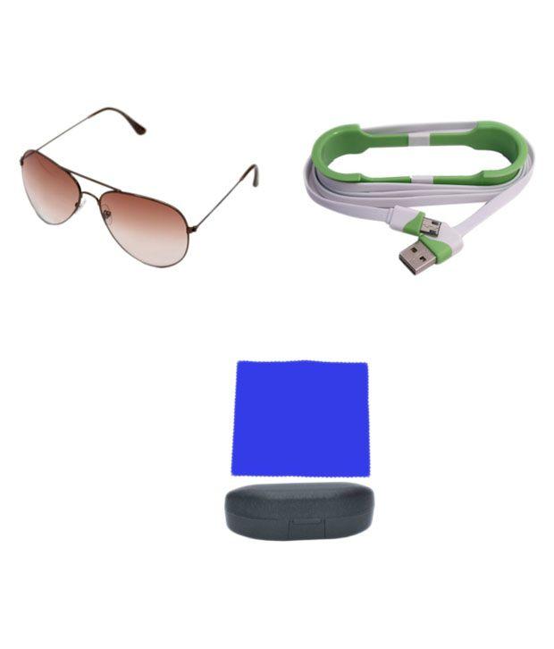 R Looks Brown Aviator Sunglasses For Men