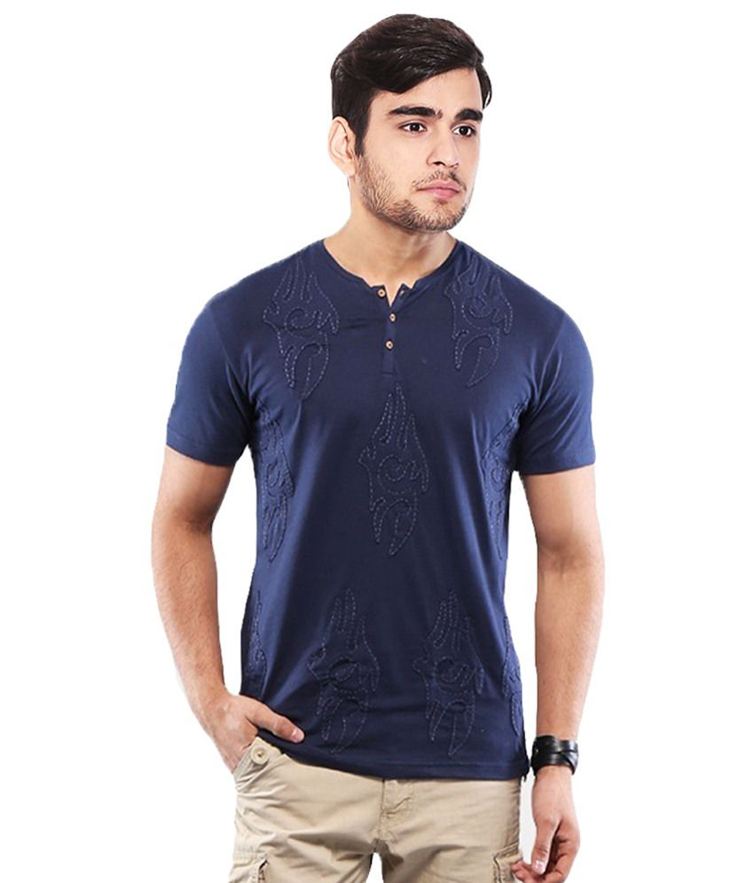 Sandeep Mahajan Blue Cotton T-Shirt Pack Of 2