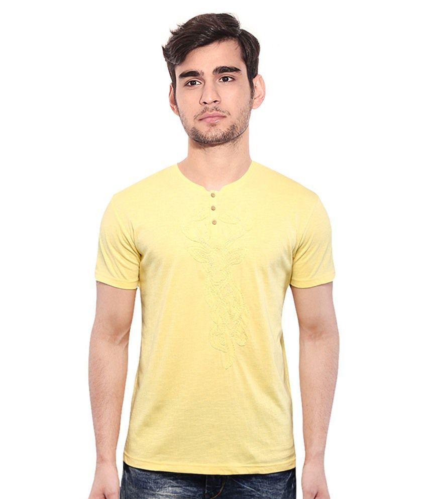 Sandeep Mahajan Yellow Cotton T-Shirt