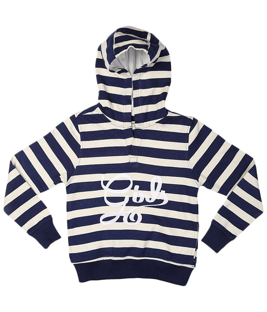 Allen Solly Blue & White Hooded Sweatshirt