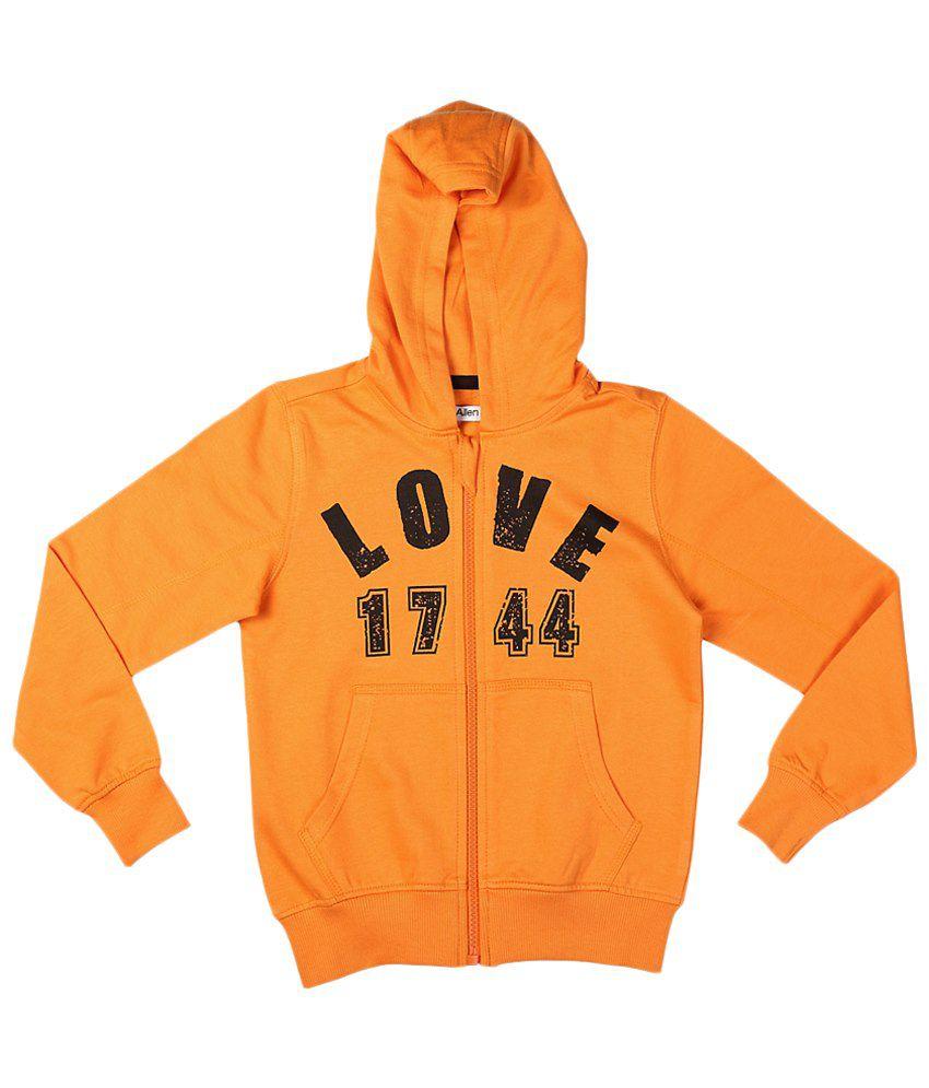 Allen Solly Orange & Black Zippered Hooded Sweatshirt