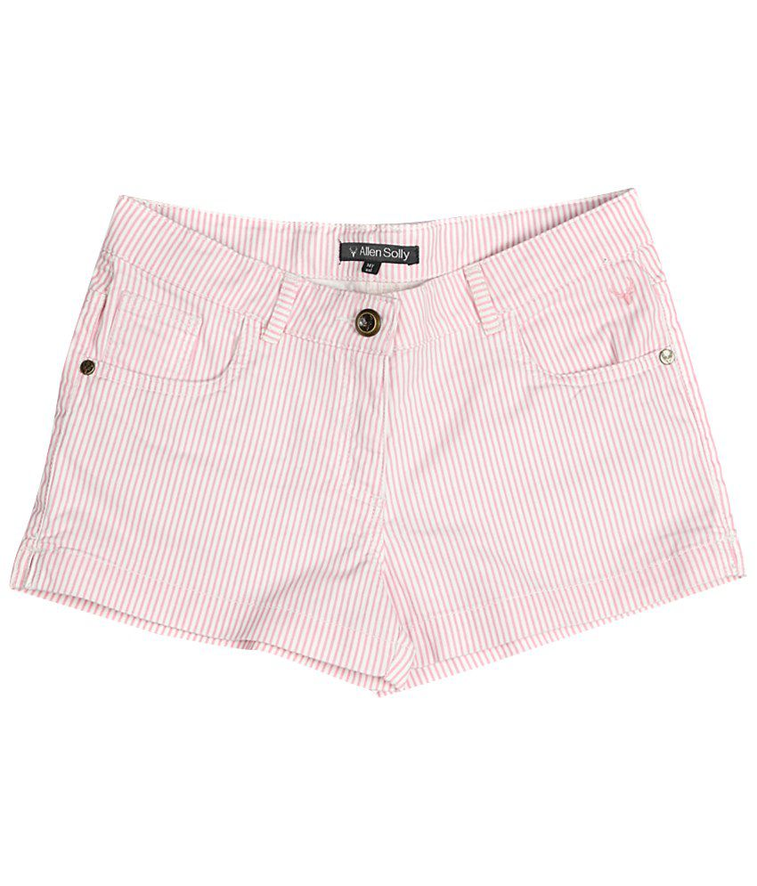 Allen Solly Pink & White Cotton Shorts