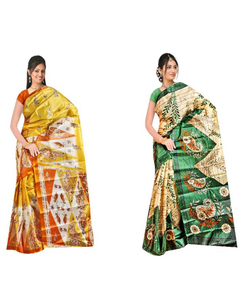 Balaji Fashions Yellow and Green Art Silk Printed Sarees (Pack of 2)
