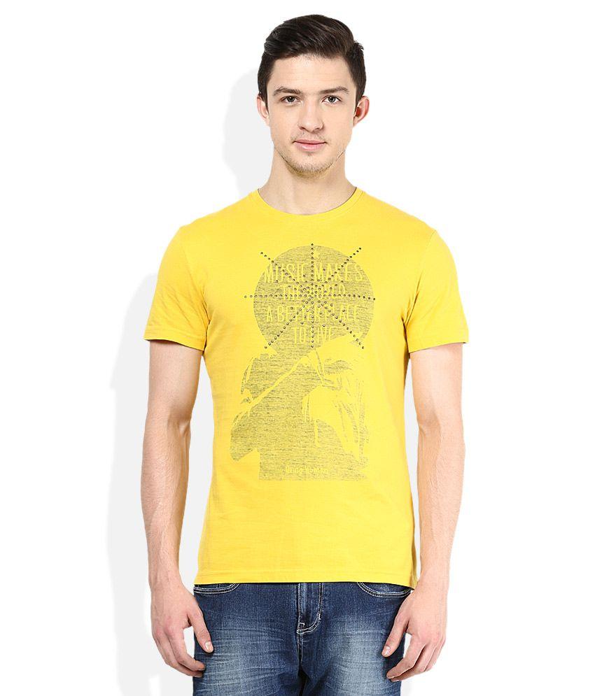 Being Human Yellow Round Neck T Shirt