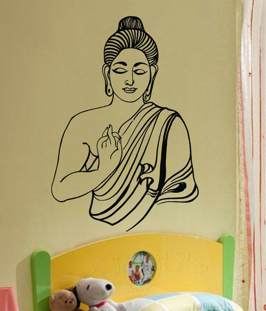 Decor Villa Black Lord Buddha Wall Sticker - Buy Decor Villa Black ...