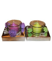 Fragrance Concoction Purple & Green Candle With Cup Pack Of 2