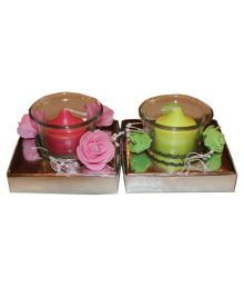 Fragrance Concoction Pink & Green Candle With Cup Pack Of 2
