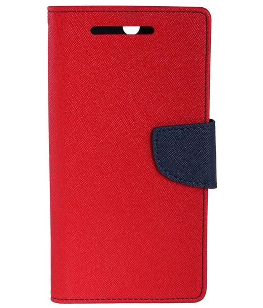 OFM Flip Cover For Samsung Galaxy J1/J1 Ace -Red- Red