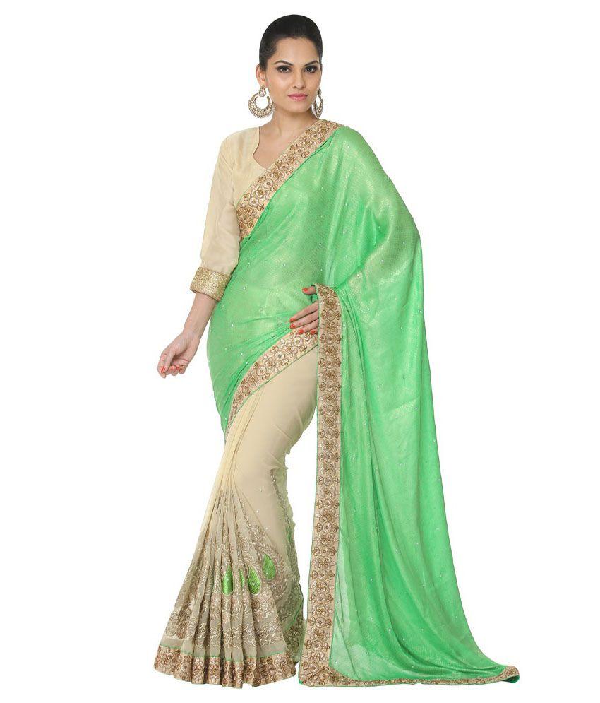Oomph! Spring Green & Beige Half & Half Chiffon & Jacquard Embroidered Designer Saree