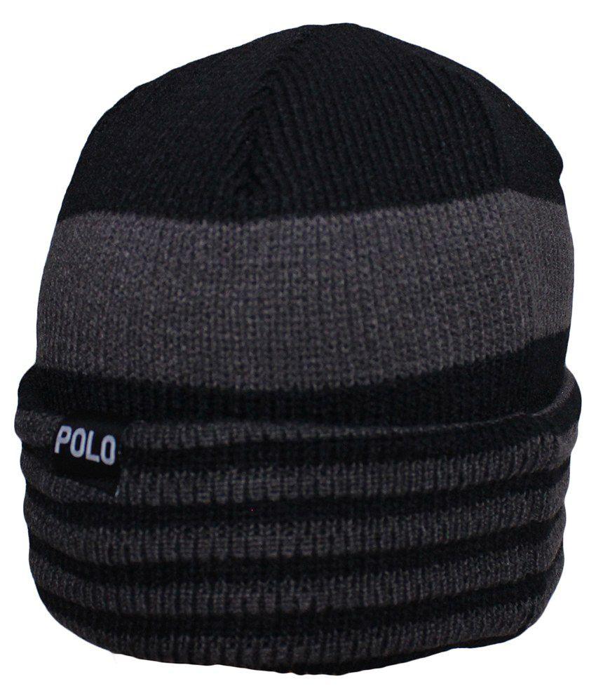 Air Fashion Black and Grey Woollen Beanies Cap