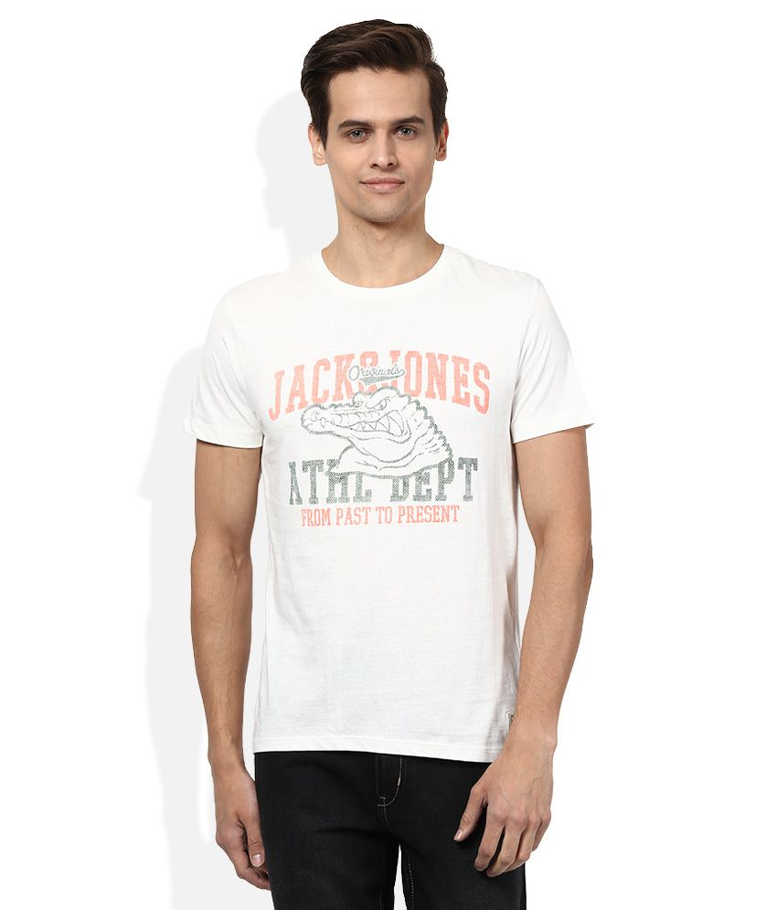 Jack & Jones Off-White Round Neck Half Sleeves Printed T-Shirt