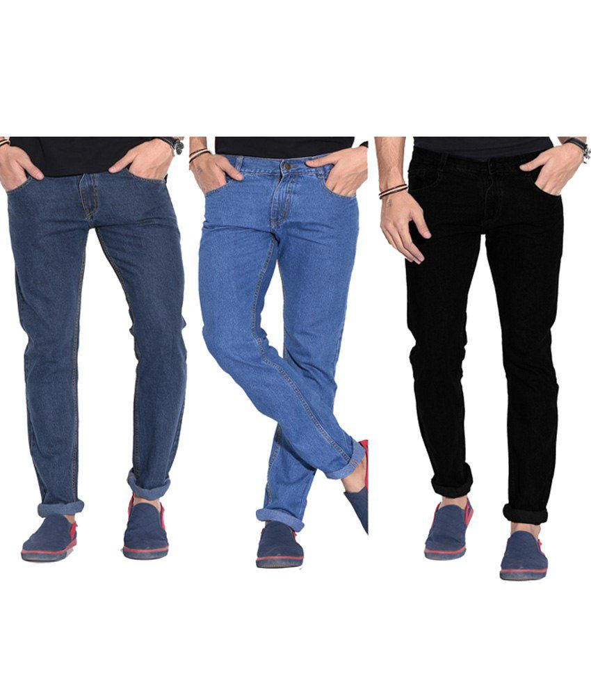 Fizzaro Pack of 2 Blue & Black Regular Fit Jeans