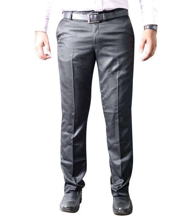Diego Riviera Black Slim Fit Formal Flat Trouser