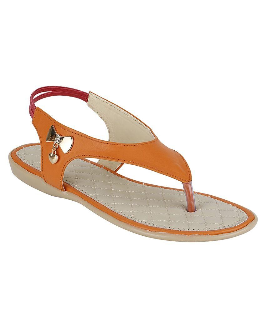 Hanna Orange Flat Sandals