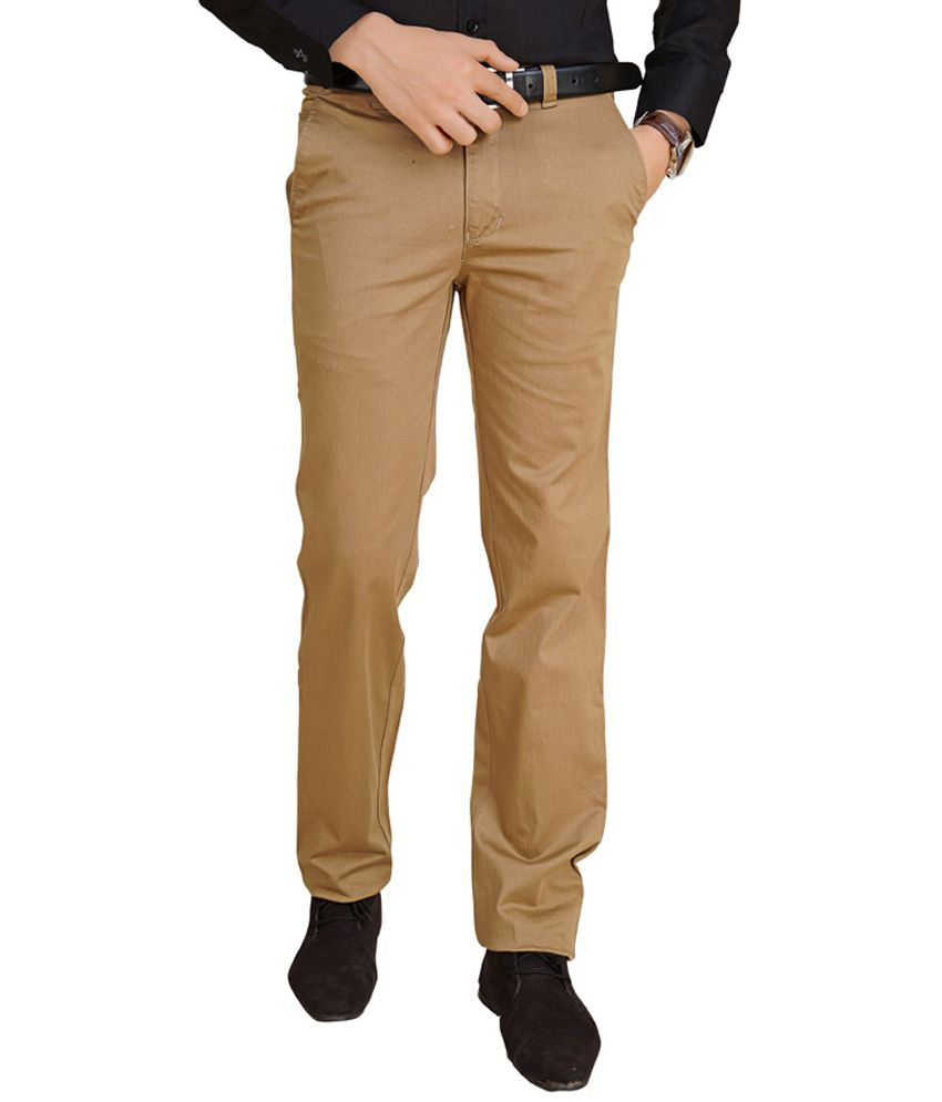 Renzo Beige Slim Fit Casual Chinos