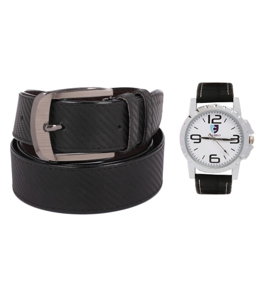 Calibro Combo Of Black Formal Belt And Black Watch For Men