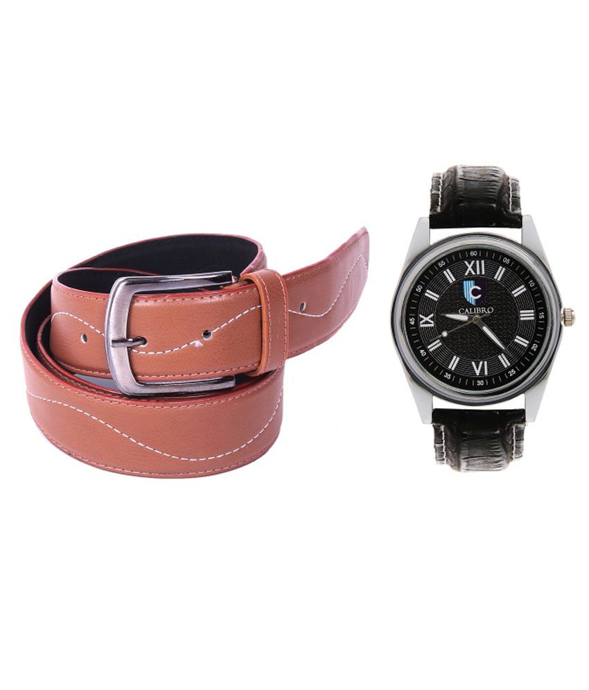 Calibro Combo Of Tan Casual Belt And Black Watch For Men