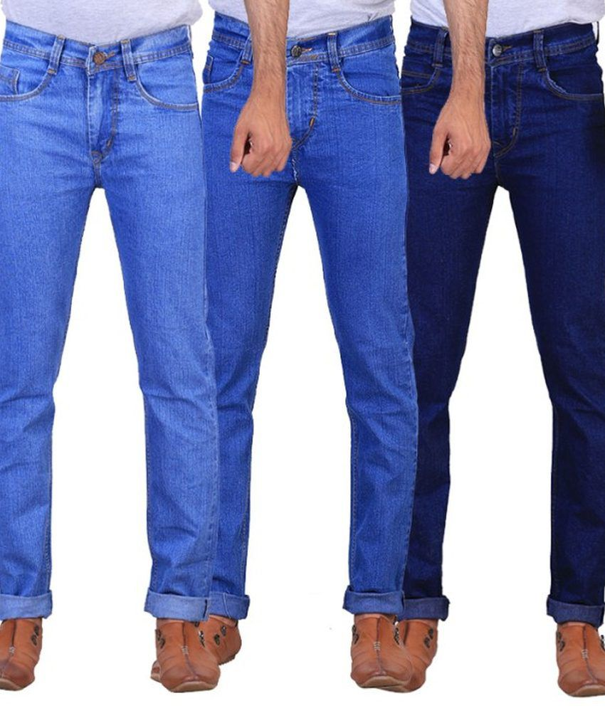 NE Blue Regular Fit Jeans - Pack Of 3
