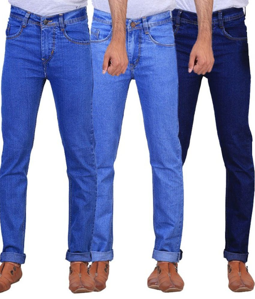 NE Blue Regular Fit Jeans - Pack Of 3